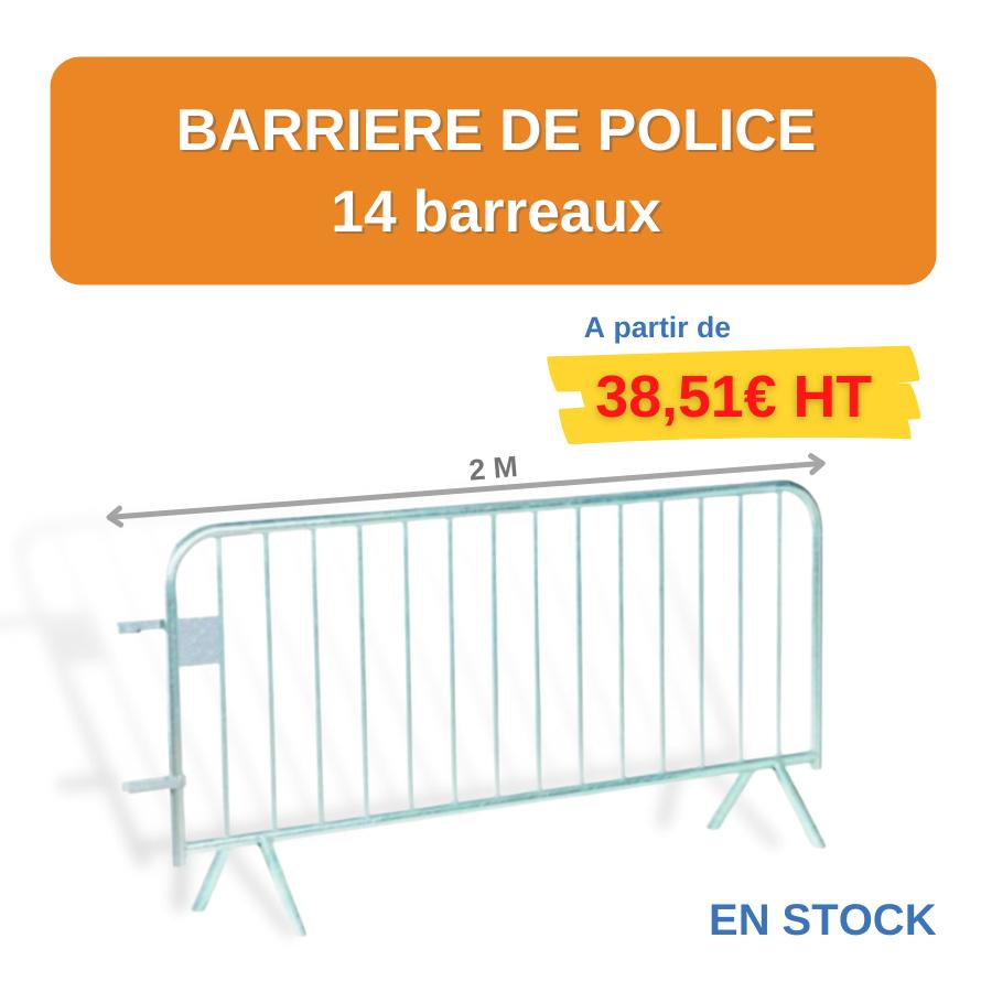 barrières de police 14 barreaux en métal chez LEADER EQUIPEMENTS