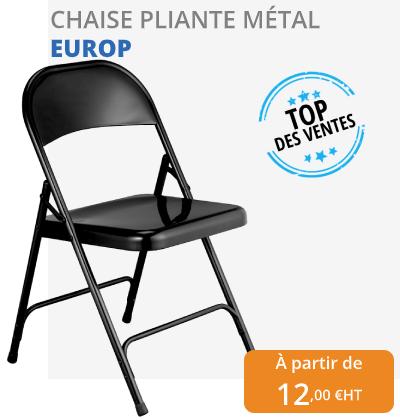 chaise europ pliante en métal noir - Leader Equipements